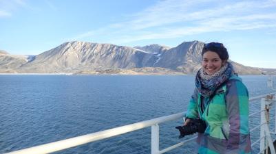In front of Nioghalvfjerdsbrae Glacier